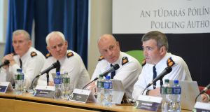 Garda Commissioner Drew Harris attending his first meeting with the Policing Authority with from left: Pat Leahy, David Sheahan and John Twomey, in Dublin Castle. Photograph: Dara Mac Dónaill/ The Irish Times