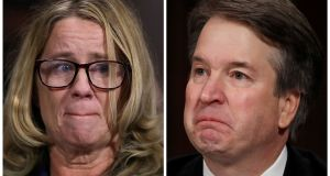 Prof Christine Blasey Ford and US Supreme Court nominee Brett Kavanaugh. Photograph: Win McNamee/Pool and REUTERS/Jim Bourg (R)
