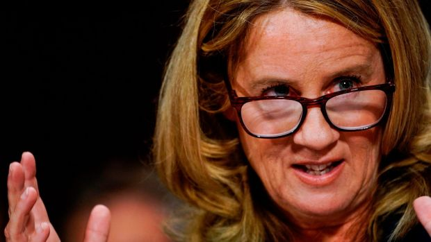 Christine Blasey Ford testifies before the Senate Judiciary Committee. Photograph: MELINA MARA/AFP/Getty Images