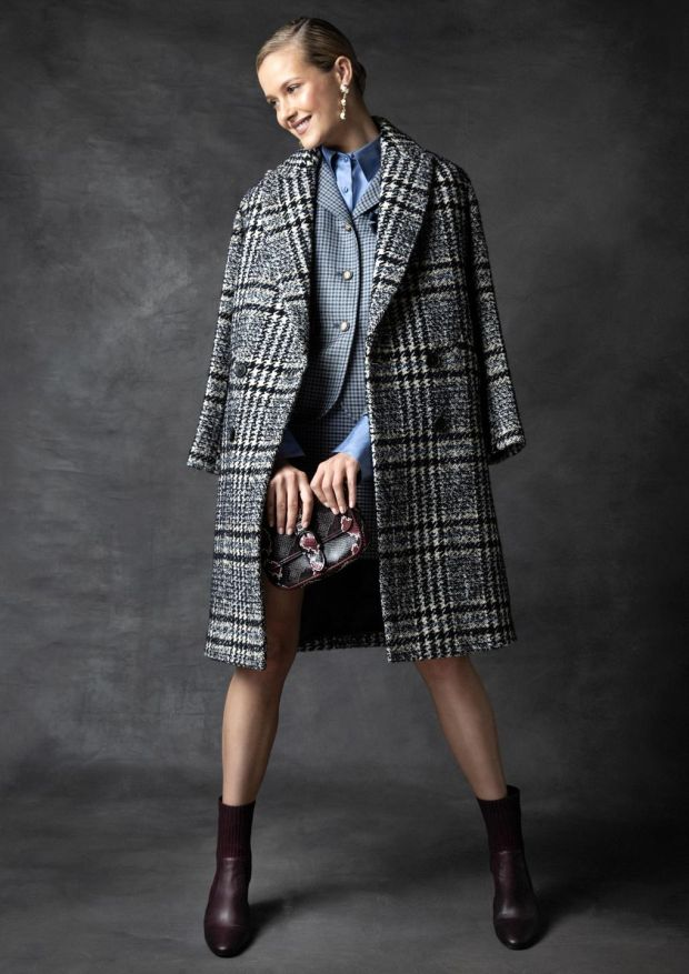 Check tweed coat Pablo €550, blue check blazer DMN 760, blue silk shirt DMN €390, blue check mini skirt DMN €140, python bag, Longchamp €500, pear drop earrings, Lulu Frost at Loulerie