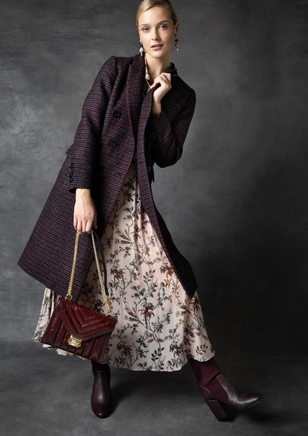 Check coat DMN €690, floral dress Pablo €295, burgundy leather bag Michael Michael Kors €350, Tribute drop earrings Lulu Frost at Loulerie €349, burgundy boot Vince Camuto €150