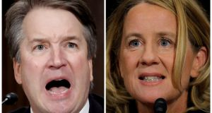 US Supreme Court nominee Brett Kavanaugh and Prof Christine Blasey Ford, testify in Washington. Photograph: Jim Bourg/Reuters