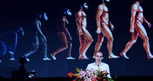 Israeli historian and writer Yuval Noah Harari speaks at the Global Artificial Intelligence Summit Forum in China last year. Photograph: VCG/VCG via Getty Images