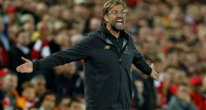 Liverpool manager Jürgen Klopp was frustrated by his side's late home defeat to Chelsea in the Carabao Cup on Wednesday night. Photograph: Andrew Yates/Reuters