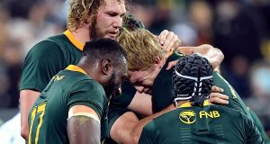 South Africa  celebrates their win over New Zealand a fortnight ago. Photograph: Ross Setford/Reuters