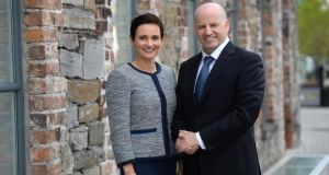Presidential candidate Seán Gallagher and his wife, Trish, in Drogheda, Co Louth. Photograph: Dara Mac Dónaill