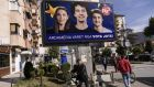 "A billboard reading in Albanian ""The future depends on your vote!"" in the town of Gostivar, on Friday. Photograph:  Armend Nimani/AFP"