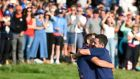 Rory McIlroy  and Ian Poulter celebrate their win on the 16th hole during the afternoon foursomes at the  Ryder Cup  at Le  Golf National in  Paris. Photograph: Gerry Penny/EPA