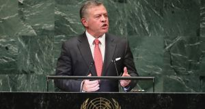 King Abdullah of Jordan at the United Nations General Assembly in New York. Photograph: John Moore/Getty Images