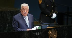 President Mahmoud Abbas of the Palestinian National Authority addresses the 73rd United Nations General Assembly at UN headquarters in New York. Photograph: Chang W Lee/The New York Times