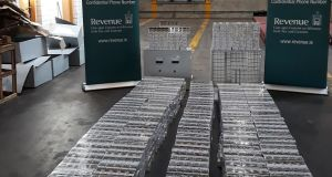 Revenue Officers at Dublin Port seized 216,000 cigarettes with a retail value of more than € 112,000. Photograph: Revenue