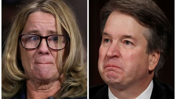 Dr Christine Blasey Ford and Brett Kavanaugh testify in a combination photograph during a Senate Judiciary Committee confirmation hearing in Washington, on Thursday. Photographs: Win McNamee and Jim Bourg
