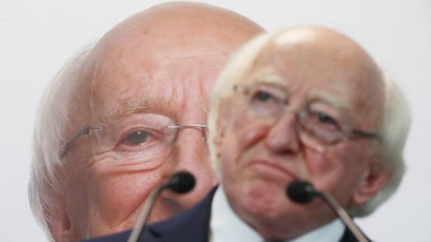 President Michael D Higgins at the launch of his re-election campaign in Dublin. Photograph: Niall Carson/ PA Wire