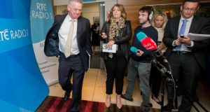 Presidential candidate Peter Casey following a presidential radio debate at RTÉ Radio studios, Dublin. Photograph: Gareth Chaney Collins