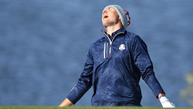 Jordan Spieth reacts to a shot. Photograph: Stuart Franklin/Getty Images