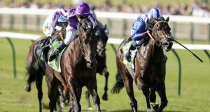 Donnacha O'Brien riding Ten Sovereigns (left) to win the Juddmonte Middle Park Stakes from Jash and Jim Crowley (right) at Newmarket. Photograph: Alan Crowhurst/Getty Images