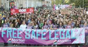 Demonstrators take part in the Abortion Rights Campaign's annual March for Choice In Dublin, as legislation to liberalise Ireland's termination laws is set to be introduced into the Dáil next week.  Photograph: Niall Carson/PA Wire