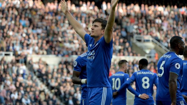 Harry Maguire celebrates scoring Leicester's second goal at St James's Park. Photograph: Mark Runnacles/Getty Images