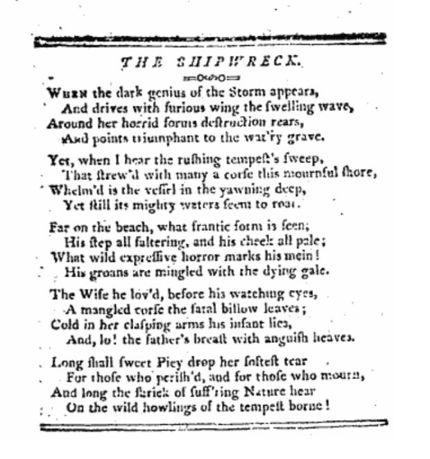 """The Shipwreck"", Freeman's Journal, 1803"