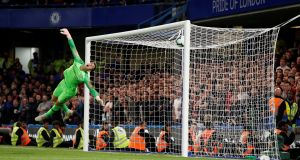 Chelsea goalkeeper Kepa Arrizabalaga is beaten by Daniel Sturridge's shot for Liverpool's late equaliser at Stamford Bridge. Photograph: John Sibley/Action Images via Reuters
