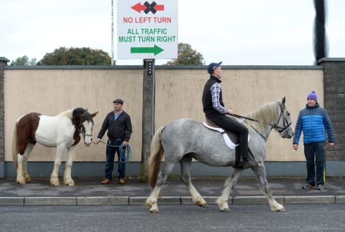 HORSE OUTSIDE: Two- and four-legged attendees at the opening day of the Ballinasloe Fair & Festival in Ballinasloe, Co. Galway. Photograph: Dara Mac Donaill / The Irish Times
