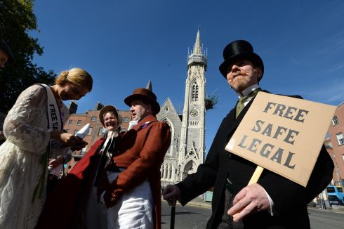 Declan Allison, Time Traveller for Choice, (right) at the 7th annual March for Choice in Dublin at the weekend. Photograph: Dara Mac Donaill/The Irish Times