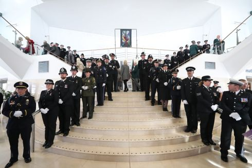 POLICE MEMORIAL: General view of people arriving for the service at the Waterfront Hall, Belfast for National Police Memorial Day to honour police officers who have died or been killed in the line of duty. Photograph: Niall Carson/PA Wire