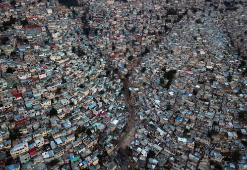 STREETVIEW: An aerial picture taken on September 27, 2018 shows Jalousie neighborhood in the commune of Petion Ville during the sunset, in the Haitian capital Port-au-Prince. Photograph: Hector Retamal/AFP/Getty