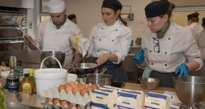 Catering students Andrew Kelly, Lisa Wilson and Róisín Boyle at Killybegs School of Tourism. Photograph: Joe Boland/North West Newspix