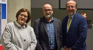 Dr Anne Looney of DCU's institute of education, author Roddy Doyle and DCU president Brian MacCraith at the launch of the university's partnership with Fighting Words. Photo: Rosa Devine
