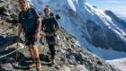 Handout photo of Sir Richard Branson and his son Sam Bransonduring their climb of Mont Blanc in the Alps to complete the Virgin Strive Challenge 2018. Photograph: Jon Griffith/PA Wire