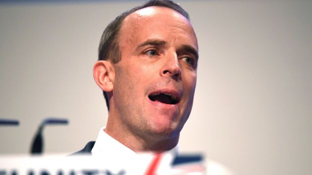 Secretary of State for Exiting the European Union Dominic Raab speaks during day two of the annual Conservative Party Conference. Photograph: Jeff J Mitchell/Getty Images