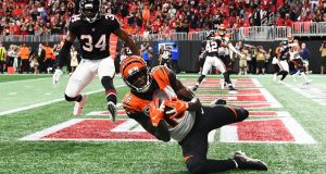 AJ Green of the Cincinnati Bengals catches the game winning touchdown pass . Photograph: Getty Images