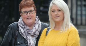 Sarah Ewart (right) and her mother Jane Christie outside the court in Belfast to seek a declaration of incompatibility with human rights law in cases of fatal foetal abnormalities. Photograph: Niall Carson/PA Wire