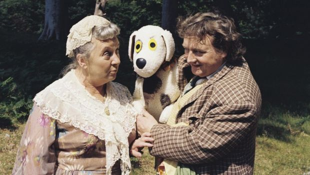 Nora O'Mahony as Godmother, Judge the Dog and puppeteer Eugene Lambert as O'Brien from 'Wanderly Wagon', which ran on RTÉ Television from 1967 to 1982.