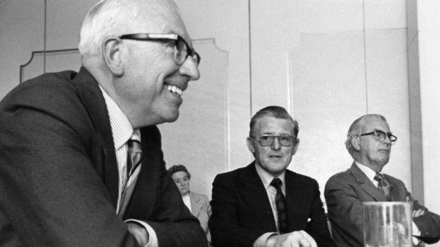 Senator TK Whitaker, Brendan O'Regan (centre) and Dr Jerry Dempsey. Photograph: Peter Thursfield