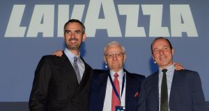 Alberto Lavazza, president of Italy's biggest coffee maker Lavazza,  with vice presidents Marco and Giuseppe Lavazza.