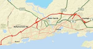The proposed route involves a new bridge and viaduct over the river Corrib.