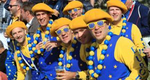 Team Europe fans during the Fourballs match on day two of the Ryder Cup at Le Golf National. Photograph: PA