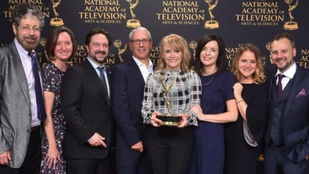 Emmy winners: Emer Reynolds and the Farthest team with their award