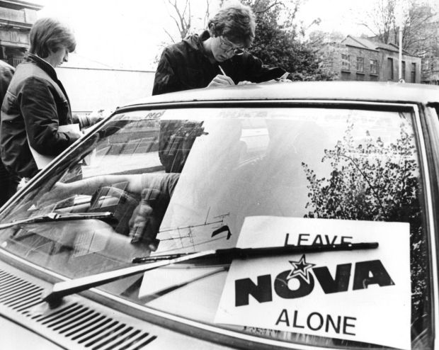 The public sign a petition against the closure of Radio Nova in Herbert Street, Dublin, in 1983. Photograph: Peter Thursfield