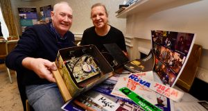 Declan Meehan, who worked with Nova Radio, Century, 2FM, Ard Big and various others; and Stuart Clarke, assistant editor of Hot Press, who worked with Radio Caroline, pictured with a biscuit tin transmitter from Radio Butty. Photograph: Cyril Byrne
