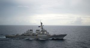 The USS Decatur in the South China Sea. The US and China traded angry accusations after the Decatur and a Chinese warship nearly collided on September 30th. File photograph:  Diana Quinlan/US Navy via the New York Times