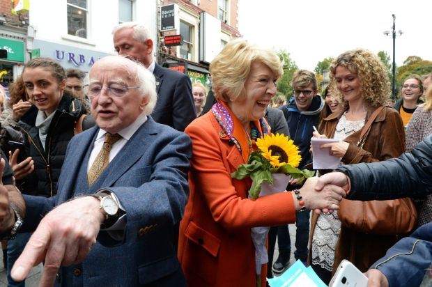 MEETING THE PEOPLE: Presidential nomination Michael D Higgins and his wife Sabina meeting people during a canvas on Grafton Street. Photograph: Cyril Byrne/The Irish Times