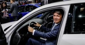 BMW chief Harald Krüger at the Paris Motor Show on Tuesday. 'If there is no solution, then there will only be losers on both sides,' he said.  Photograph: Marlene Awaad/Bloomberg