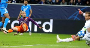 David Silva scores Manchester United's winner in Germany. Photograph: Armando Babani/EPA