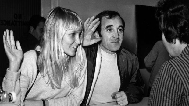 Charles Aznavour and Swedish model Ulla Thorssel swear in during their wedding ceremony in Las Vegas in 1967. Photograph: AFP/Getty Images
