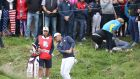Brooks Koepka of the United States plays his second shot after his tee shot struck a spectator at the Ryder Cup. Photograph: Christian Petersen/Getty Images