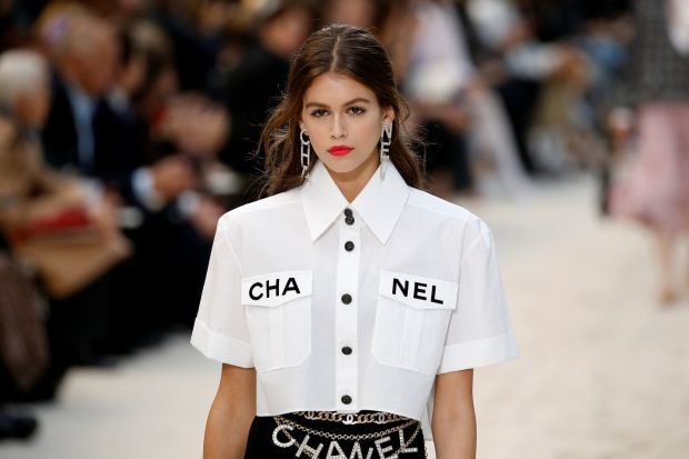 Paris Fashion Week: Kaia Gerber models a Chanel outfit at the Grand Palais. Photograph: Stephane Mahe/Getty