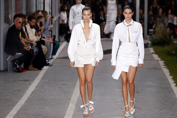 Paris Fashion Week: Bella Hadid and Kendall Jenner model creations from Off-White collection. Photograph: François Guillot/AFP/Getty